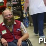 Disabled Lowe's greeter weeps tears of joy after community upgrades his wheelchair