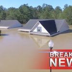 Drone video shows flood waters covering houses in North Carolina
