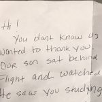 Family gives heartwarming letter to NFL player sitting by them on flight