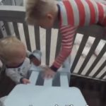 Toddler helps 1-year-old brother escape so they can play together