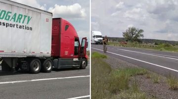 Motorist sees trucker abandon his rig on the highway, then catches something incredible on camera