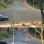 "Brilliant local residents ""fix"" dangerous intersection with chalk and fallen leaves"