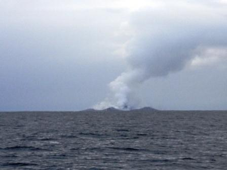 From a safe distance their fears are confirmed, they had sailed over an active underwater volcano!