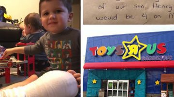 Mom shopping for her son notices a note taped to a toy shelf, what it says stops her cold