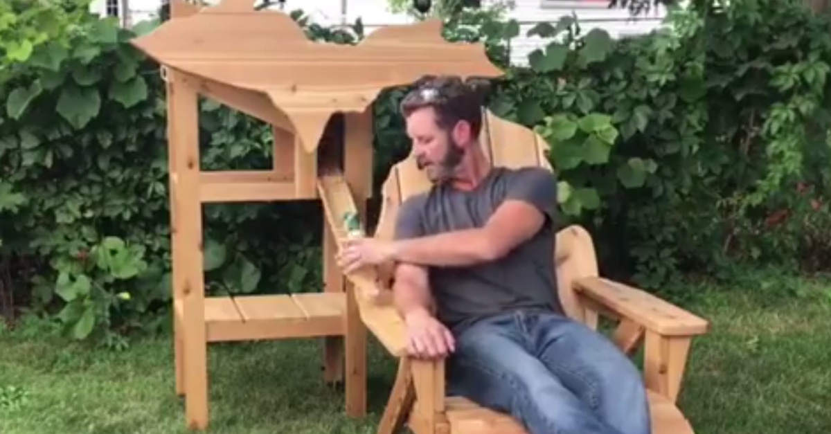 Michigan Themed Lawn Chair Dispenses Cold Drinks Directly